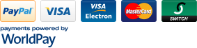 Payments powered by WorldPay - PayPal, Visa, Visa Electron, Mastercard, Switch